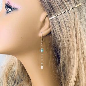Genuine Moonstone & Turquoise Handcrafted Earrings